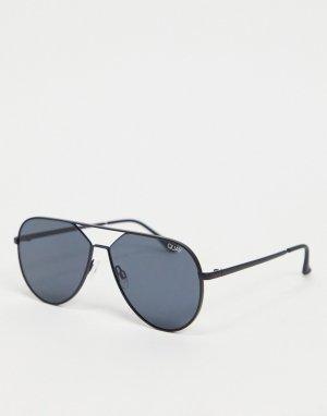 Черные солнцезащитные очки-авиаторы Quay Hold Please-Черный Australia