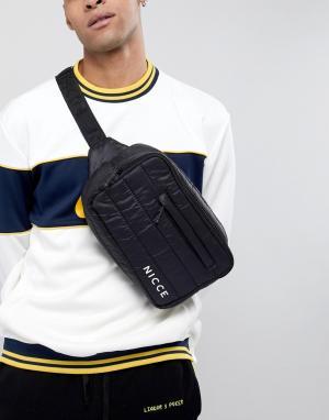 Черная стеганая сумка-кошелек на пояс Nicce London. Цвет: черный