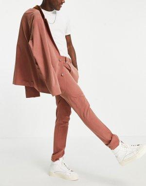 Рыжие классические брюки облегающего кроя из мягкой ткани с узором «в елочку» -Красный ASOS DESIGN