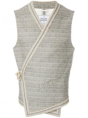 Жилет с запахом и завязкой на боку Vivienne Westwood Anglomania. Цвет: бежевый