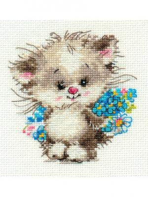 Набор для вышивания Моей киске  10х11 см. Алиса. Цвет: голубой, светло-серый, серый