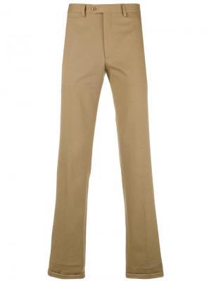 Классические однотонные брюки-чинос Brioni. Цвет: бежевый