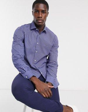 Поплиновая клетчатая рубашка узкого кроя с длинными рукавами -Темно-синий Tommy Hilfiger