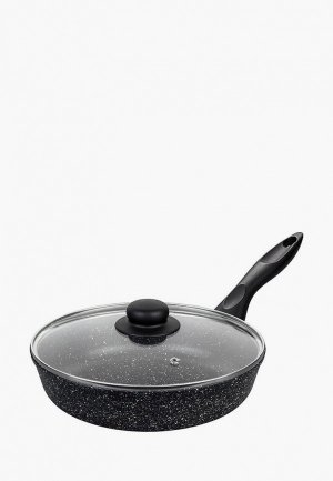 Сковорода Elan Gallery с крышкой 24 см. Цвет: черный