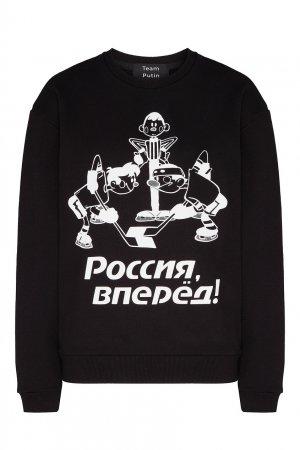 Черный свитшот с принтом «Хоккей» TEAM PUTIN. Цвет: черный
