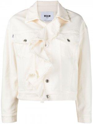 Джинсовая куртка с оборками MSGM. Цвет: нейтральные цвета