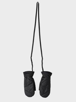 Варежки Сеул с диагональной стежкой со шнурком GATE31. Цвет: черный