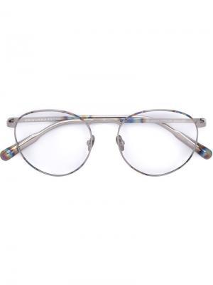 Очки с круглой оправой и съемными линзами Linda Farrow. Цвет: серый