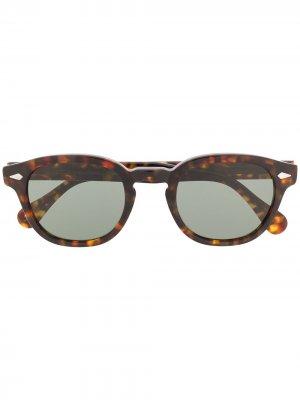 Солнцезащитные очки Lemtosh в круглой оправе Moscot. Цвет: коричневый