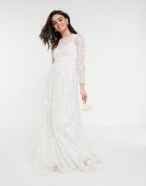 Свадебное платье с декоративной отделкой и вышивкой по всей длине Ava-Белый ASOS EDITION