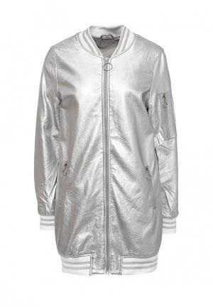 Куртка кожаная B.Style. Цвет: серебряный