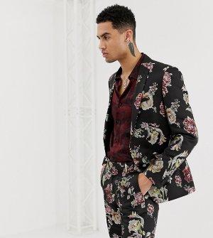 Приталенный пиджак с цветочным узором эффектом металлик -Черный Heart & Dagger