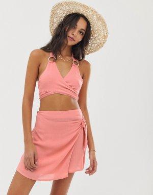 Оранжевый топ с запахом и пляжная юбка Silvia Fashion Union