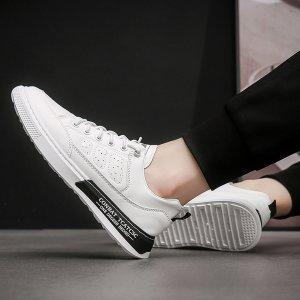 Мужская обувь для скейтбординга с текстовым принтом со шнурком SHEIN. Цвет: белый