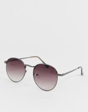 Черные круглые солнцезащитные очки -Черный New Look
