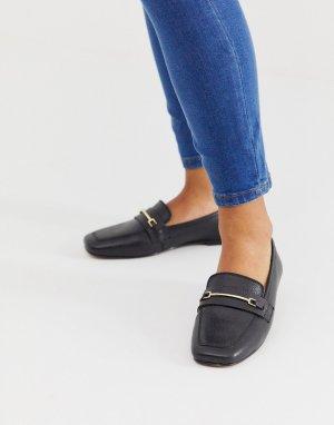 Черные кожаные лоферы с квадратным носком ASOS DESIGN-Черный цвет