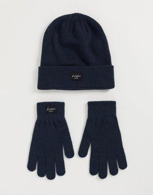 Темно-синие шапка и перчатки -Темно-синий Jack & Jones