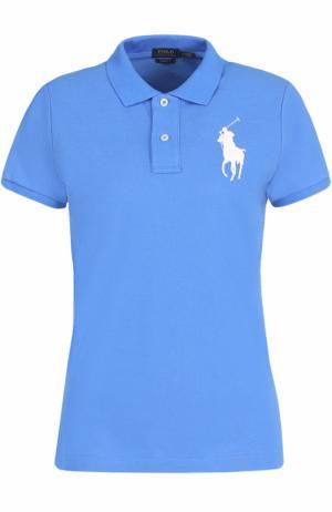 Хлопковое поло с вышитым логотипом бренда Polo Ralph Lauren. Цвет: синий