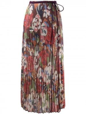Плиссированная юбка миди с цветочным принтом M Missoni. Цвет: красный