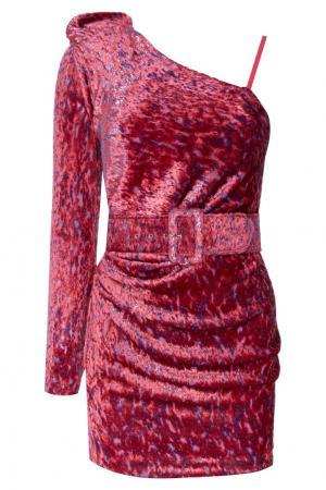 Розовое бархатное платье с поясом Alexandr Rogov. Цвет: розовый