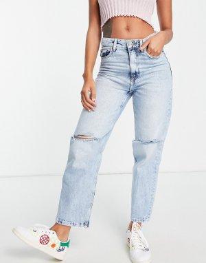 Голубые выбеленные джинсы бойфренда со рваной отделкой на коленях -Голубой Bershka
