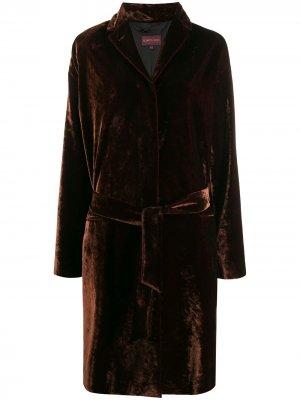 Бархатное пальто 1990-х годов с поясом Romeo Gigli Pre-Owned. Цвет: коричневый