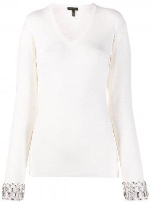 Приталенный пуловер со стразами Escada. Цвет: нейтральные цвета