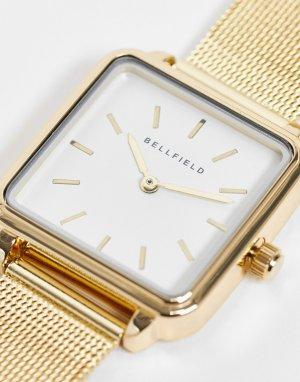 Часы из нержавеющей стали с квадратным циферблатом и сетчатым браслетом -Золотистый Bellfield