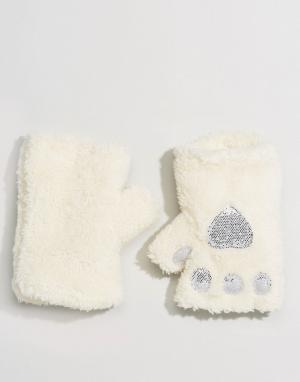 Пушистые митенки кремового цвета с серебристой отделкой металлик ASOS-Белый ASOS DESIGN