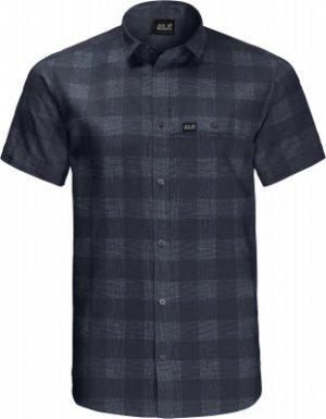 Рубашка с коротким рукавом мужская Jack Wolfskin Highlands, размер 58. Цвет: синий