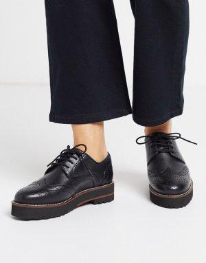Черные кожаные броги -Черный ASOS DESIGN