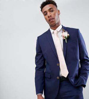 Приталенный пиджак из ткани с добавлением льна Farah wedding эксклюзивно на ASOS-Темно-синий Smart