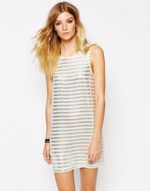 Платье без рукавов с полосками из пайеток Paulette American Retro. Цвет: белый