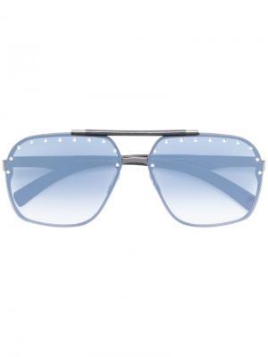 Солнцезащитные очки-авиаторы с заклепками Philipp Plein. Цвет: черный
