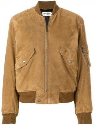 Куртка-бомбер Saint Laurent. Цвет: коричневый