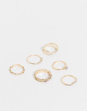 Набор из 6 золотистых колец со стразами -Золотистый Accessorize