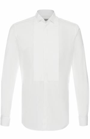 Хлопковая сорочка под смокинг с воротником бабочка Valentino. Цвет: белый