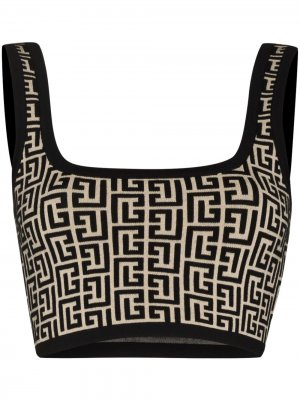 Monogram-pattern sleeveless knitted top Balmain. Цвет: черный