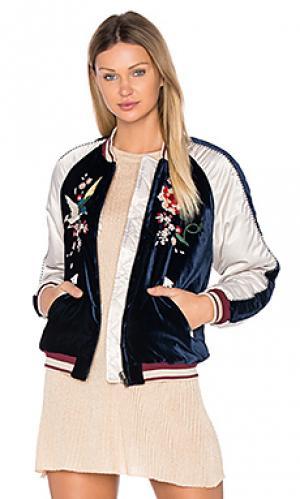 Куртка-бомбер с цветочной вышивкой Free People. Цвет: синий