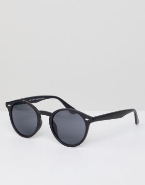 Круглые солнцезащитные очки в черной оправе -Черный New Look