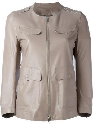 Кожаная куртка на молнии Sylvie Schimmel. Цвет: телесный