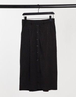 Черная юбка на пуговицах с принтом -Черный Kaffe