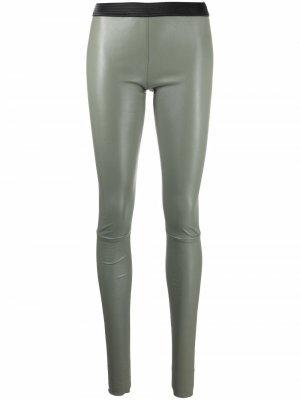 Ribbed-waistband leather leggings Drome. Цвет: зеленый