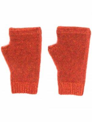 Трикотажные перчатки-митенки Stone Island Shadow Project. Цвет: оранжевый