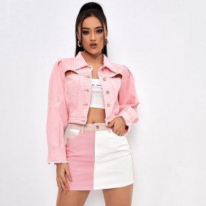 С разрезом Одноцветный Повседневный Джинсовые куртки и пальто SHEIN. Цвет: нежний розовый
