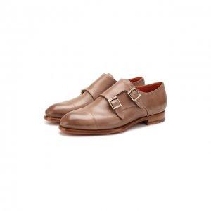 Кожаные монки Santoni. Цвет: коричневый