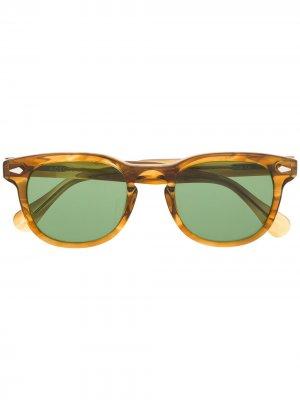 Солнцезащитные очки Gelt в квадратной оправе Moscot. Цвет: нейтральные цвета