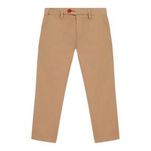 Хлопковые брюки Baronio kids. Цвет: бежевый