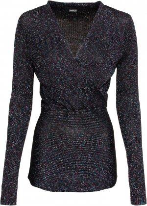 Пуловер с люрексом bonprix. Цвет: черный