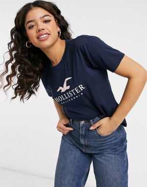 Темно-синяя футболка с короткими рукавами и логотипом Timeless-Темно-синий Hollister